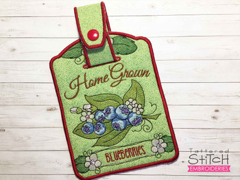 """Blueberries Towel Topper -  Fits 5x7""""Hoop - Machine Embroidery Designs"""