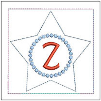"Patriotic Sachet ABCs - Z -  Fits a 4x4"" Hoop - Machine Embroidery Designs"