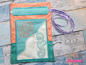 """""""Good Vibes"""" Beach Gift Bag - Fits a 5x7"""" and 6x10""""  Hoop - Machine Embroidery Designs"""