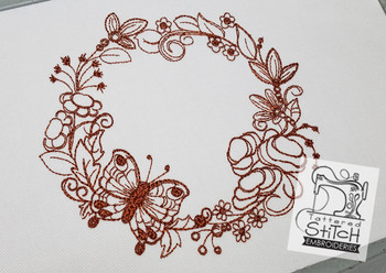 Butterfly  Floral Wreath Quilt Block - Embroidery Designs