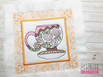 """Rose Tea Cup 5 Quilt Block - Fits a  5x5"""", 6x6"""", 7x7"""", 8x8"""" & 10x10""""  Hoop - Machine Embroidery Designs"""