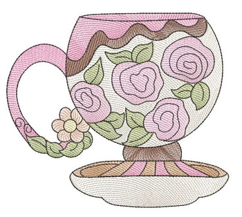 """Rose Tea Cup 5 (No Quilt Block Background) - Fits a 4x4"""", 5x7 & 8x8"""" Hoop - Machine Embroidery Designs"""