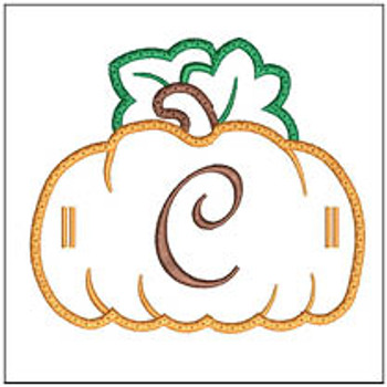 "Pumpkin Banner ABCs - C -  Fits a 5x7"" Hoop - Machine Embroidery Designs"