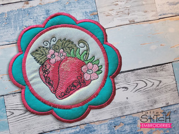 """Strawberries Coaster - Fits a 5x7""""  Hoop - Machine Embroidery Designs"""