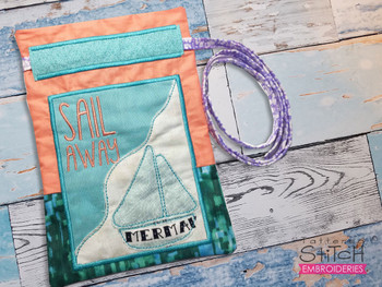 """""""Sail Away"""" Beach Gift Bag - Fits a 5x7"""" and 6x10""""  Hoop - Machine Embroidery Designs"""