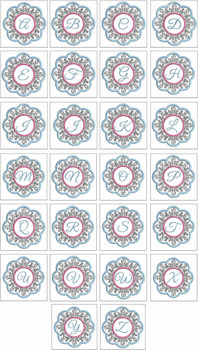 """Snowflake Coaster ABCs  Bundle- A - Fits a   4x4"""" Hoop - Machine Embroidery Designs"""