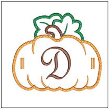 """Pumpkin Banner ABCs - D -  Fits a 5x7"""" Hoop - Machine Embroidery Designs"""