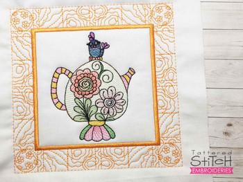 "Tea Pot 6 Quilt Block - Fits a  5x5"", 6x6"", 7x7"", 8x8"" & 10x10""  Hoop - Machine Embroidery Designs"