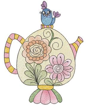"Tea Pot #6 (No Quilt Block Background) - Fits a 4x4"", 5x7 & 8x8"" Hoop - Machine Embroidery Designs"