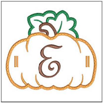 """Pumpkin Banner ABCs - E -  Fits a 5x7"""" Hoop - Machine Embroidery Designs"""