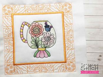 "Tea Cup 6 Quilt Block - Fits a  5x5"", 6x6"", 7x7"", 8x8"" & 10x10""  Hoop - Machine Embroidery Designs"