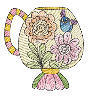 """Tea Cup #6 (No Quilt Block Background) - Fits a 4x4"""", 5x7 & 8x8"""" Hoop - Machine Embroidery Designs"""
