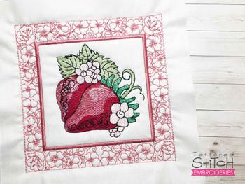 "Strawberries Quilt Block-Fits a  5x5"", 6x6"", 7x7"", 8x8"" & 10x10""  Hoop - Machine Embroidery Designs"