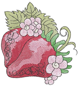 """Strawberries- Fits into a 4x4"""", 5x7"""" & 6x10"""" Hoop - Instant Downloadable Machine Embroidery"""