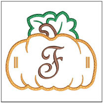 "Pumpkin Banner ABCs - F -  Fits a 5x7"" Hoop - Machine Embroidery Designs"
