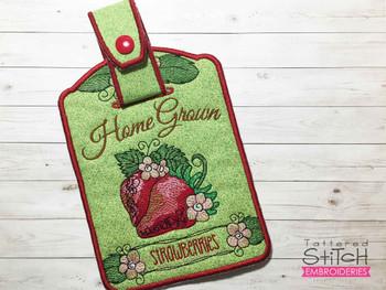"Strawberries Towel Topper -  Fits 5x7""Hoop - Machine Embroidery Designs"