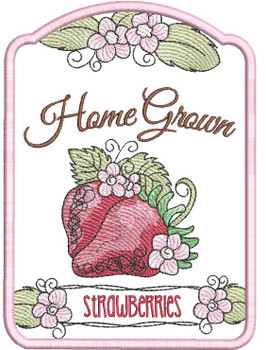 """Strawberries Label -  Fits 4x4"""", 5x7"""" 6x10"""" Hoop - Machine Embroidery Designs"""