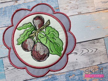 """Figs Coaster - Fits a 5x7""""  Hoop - Machine Embroidery Designs"""