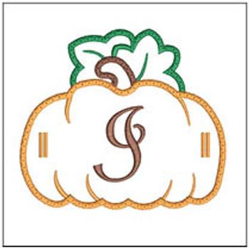 "Pumpkin Banner ABCs - I -  Fits a 5x7"" Hoop - Machine Embroidery Designs"