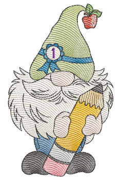 """August Gnome  -  Fits a 4x4, 5x7 & 6x10""""  Hoop - Machine Embroidery Designs"""