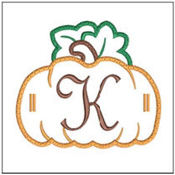 """Pumpkin Banner ABCs - K -  Fits a 5x7"""" Hoop - Machine Embroidery Designs"""