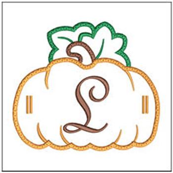 "Pumpkin Banner ABCs - L -  Fits a 5x7"" Hoop - Machine Embroidery Designs"