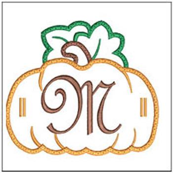 "Pumpkin Banner ABCs - M -  Fits a 5x7"" Hoop - Machine Embroidery Designs"