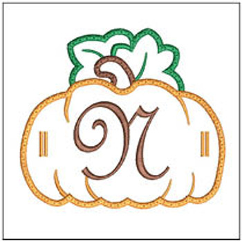 "Pumpkin Banner ABCs - N -  Fits a 5x7"" Hoop - Machine Embroidery Designs"