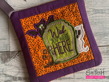 """Tombstone Wish - Pot Holder- Fits a 6x6 & 8x8"""" Hoop - Machine Embroidery Designs"""