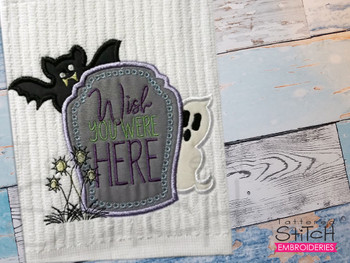 """Tombstone Wish Applique  -  Fits a 4x4, 5x7 & 8x8""""  Hoop - Machine Embroidery Designs"""