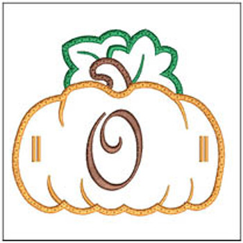 "Pumpkin Banner ABCs - O -  Fits a 5x7"" Hoop - Machine Embroidery Designs"