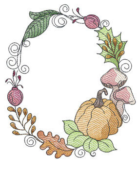"Pumpkin Wreath  -  Fits a 4x4, 5x7 & 6x10""  Hoop - Machine Embroidery Designs"