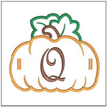 "Pumpkin Banner ABCs - Q -  Fits a 5x7"" Hoop - Machine Embroidery Designs"