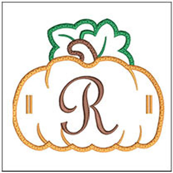 "Pumpkin Banner ABCs - R-  Fits a 5x7"" Hoop - Machine Embroidery Designs"