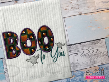 """Boo to You Applique  -  Fits a 5x7 & 6x10""""  Hoop - Machine Embroidery Designs"""