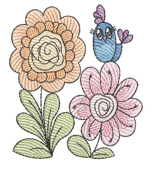 """Daisies with Birdie  - Fits a 4x4 &5x7"""" Hoop - Machine Embroidery Designs"""