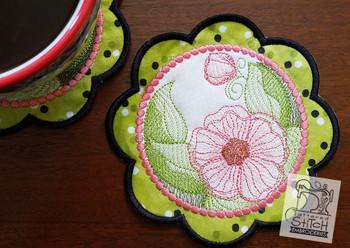 Hibiscus Mug Rug/Coaster -5x7-In The Hoop-Embroidery Designs