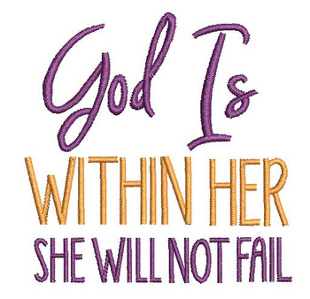 """God is Within Her  - Fits a 4x4 &5x7"""" Hoop - Machine Embroidery Designs"""
