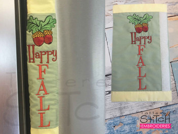 """Happy Fall Door Handle Wrap -  Fits a  6x10"""", 8x12""""""""  Hoop - Machine Embroidery Designs"""