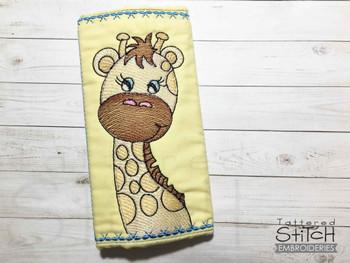 "Giraffe Car Strap Wrap -  Fits a  5x7"" Hoop - Machine Embroidery Designs"