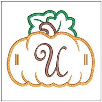 """Pumpkin Banner ABCs - U -  Fits a 5x7"""" Hoop - Machine Embroidery Designs"""