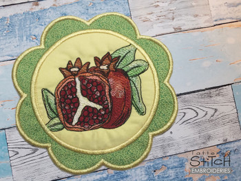 """Pomegranate Coaster - Fits a 5x7""""  Hoop - Machine Embroidery Designs"""
