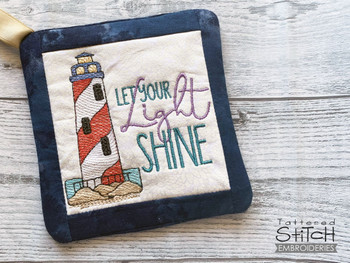 """Light Shine Bright - Pot Holder- Fits a 6x6 & 8x8"""" Hoop - Machine Embroidery Designs"""
