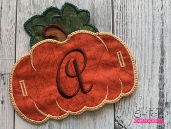 "Pumpkin Banner ABCs - W -  Fits a 5x7"" Hoop - Machine Embroidery Designs"
