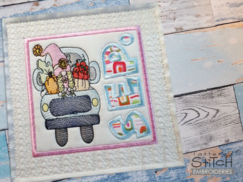 """September Gnome Quilt Block  -  Fits a   6x6"""", 7x7"""", 8x8"""" & 10x10""""  Hoop - Machine Embroidery Designs"""