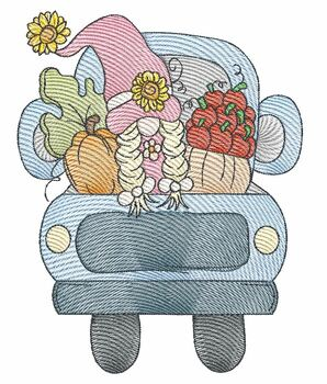 """Gnome Hauling Fall  -  Fits a 4x4, 5x7 & 6x10""""  Hoop - Machine Embroidery Designs"""