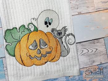 "Halloween Friends  -  Fits a 4x4, 5x7 & 8x8""  Hoop - Machine Embroidery Designs"