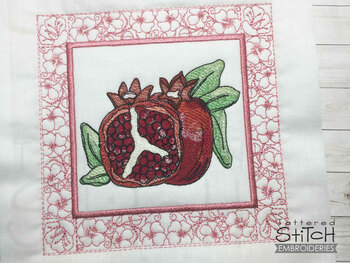"Pomegranate Quilt Block-Fits a  5x5"", 6x6"", 7x7"", 8x8"" & 10x10""  Hoop - Machine Embroidery Designs"