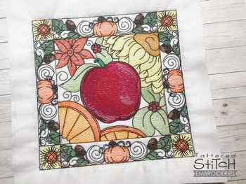 """Apple Block  - Fits into a 5x7 & 6x10"""" hoop - Instant Downloadable Machine Embroidery - Light Fill Stitch"""