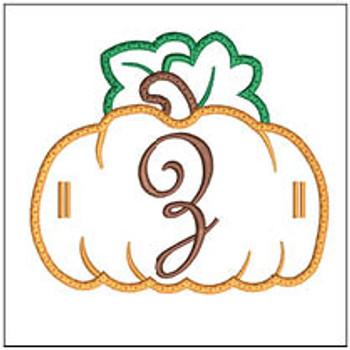 """Pumpkin Banner ABCs - Z -  Fits a 5x7"""" Hoop - Machine Embroidery Designs"""